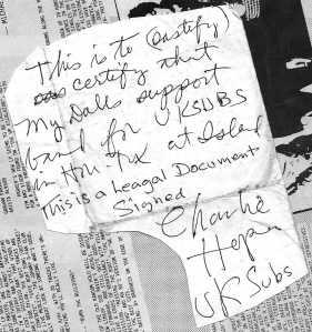 Letter from Charlie Harper (UK Subs)!