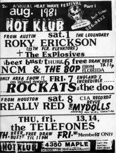 Hot Klub Calendar/Flyer Aug. '81