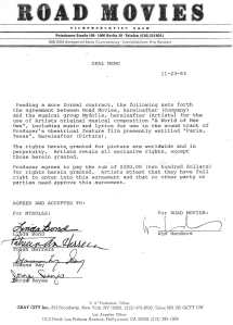 Wim Wenders Paris, TX Soundtrack Contract
