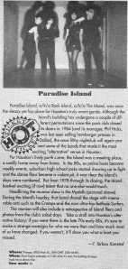 Paradise Island Gig Write-Up from Houston Paper