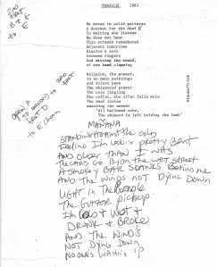 "Mydolls 1983 ""Parallel"" Lyric Sheet"