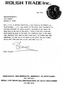 Original Rough Trade Letter