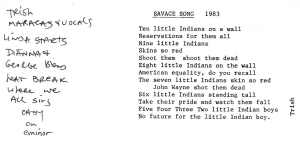 "Lyric Sheet to ""Savage Song"""