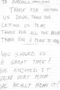 Thank You Note, From Marching Plague (likely)