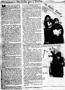 "Dallas Newspaper article covering ""Paris,TX"" and Mydolls"