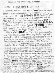 Letter from Hide fanzine