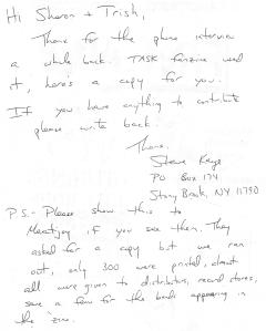 Letter from Task fanzine writer