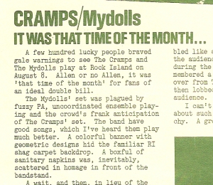 Mydolls live review from XLR8 Vol. 1 No. 5, 1980