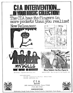 "CIA advert with Mydolls ImposterExorcism 7"",   Hymnal No. 3, 1982"